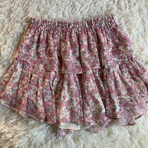 LoveShackFancy Pink Floral Silk Ruffle Mini Skirt